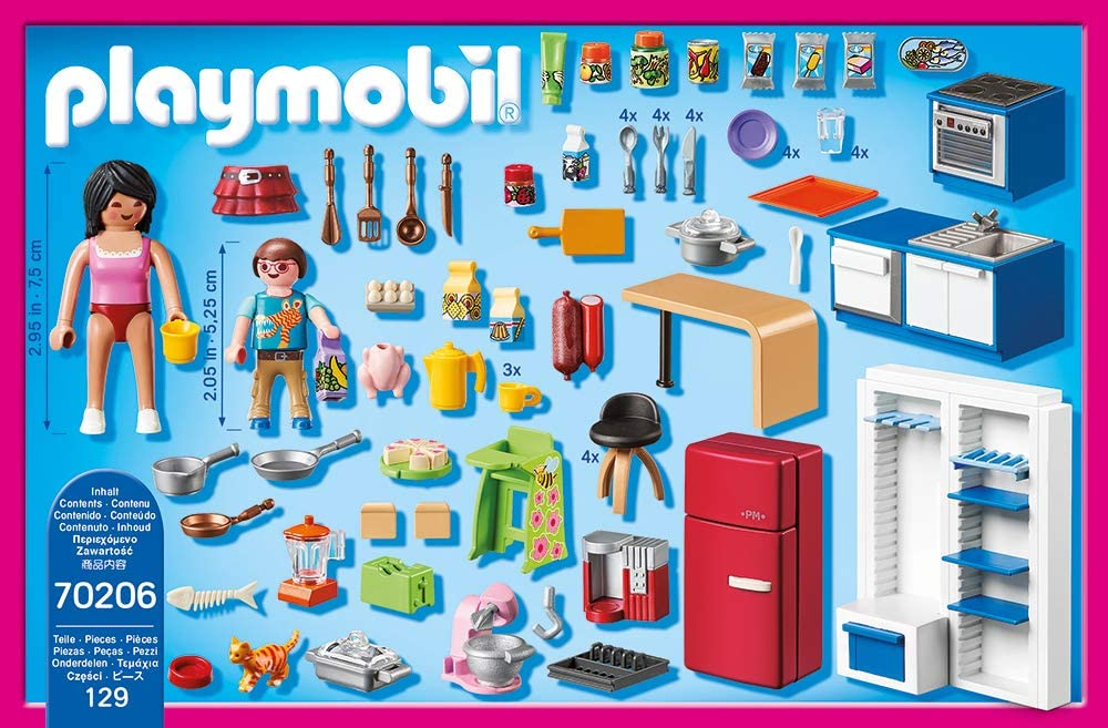 Playmobil Dollhouse 70206 Family Kitchen For Children Aged 4
