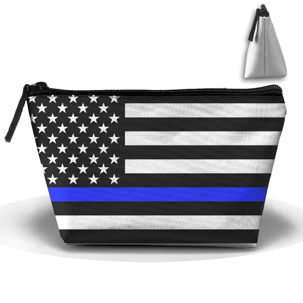 Fine Blue Line Flag Of The United States Women's Cute Zippered Makeup Bag Large Trapezoidal Cosmetic Travel Bag Portable Pouch Multifunction Toiletries Organizer Bag