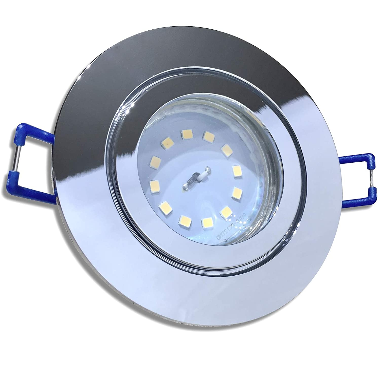4 Stück IP44 SMD LED Bad Einbauleuchte Aqua 230 Volt 9Watt Rund Chrom glänzend Neutralweiß