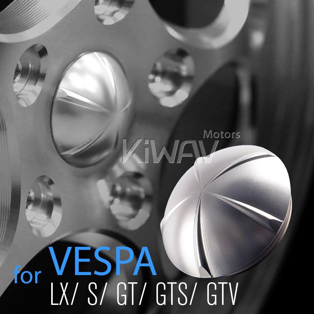 VAWiK Anodizado CNC Aleación de Aluminio 6061 Silver Rueda Tapacubos para Vespa: Amazon.es: Coche y moto