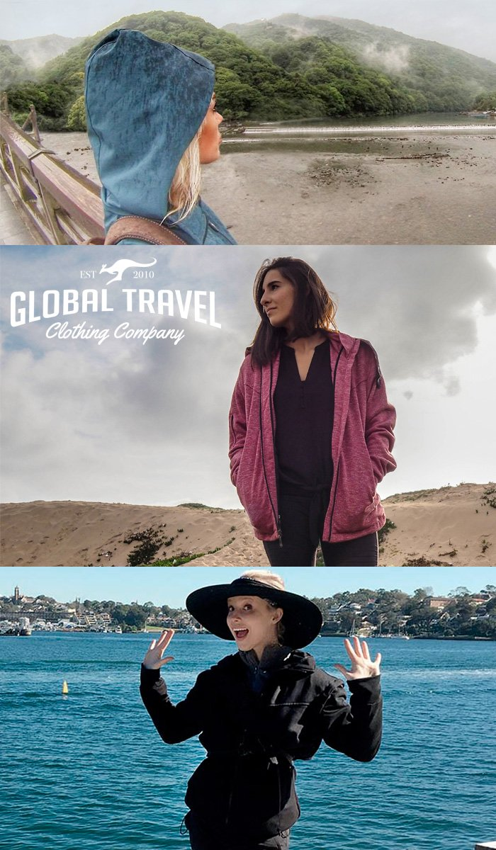 Joey Travel Jacket with Hidden Pockets. (Medium, Blue) by Global Travel Clothing (Image #6)