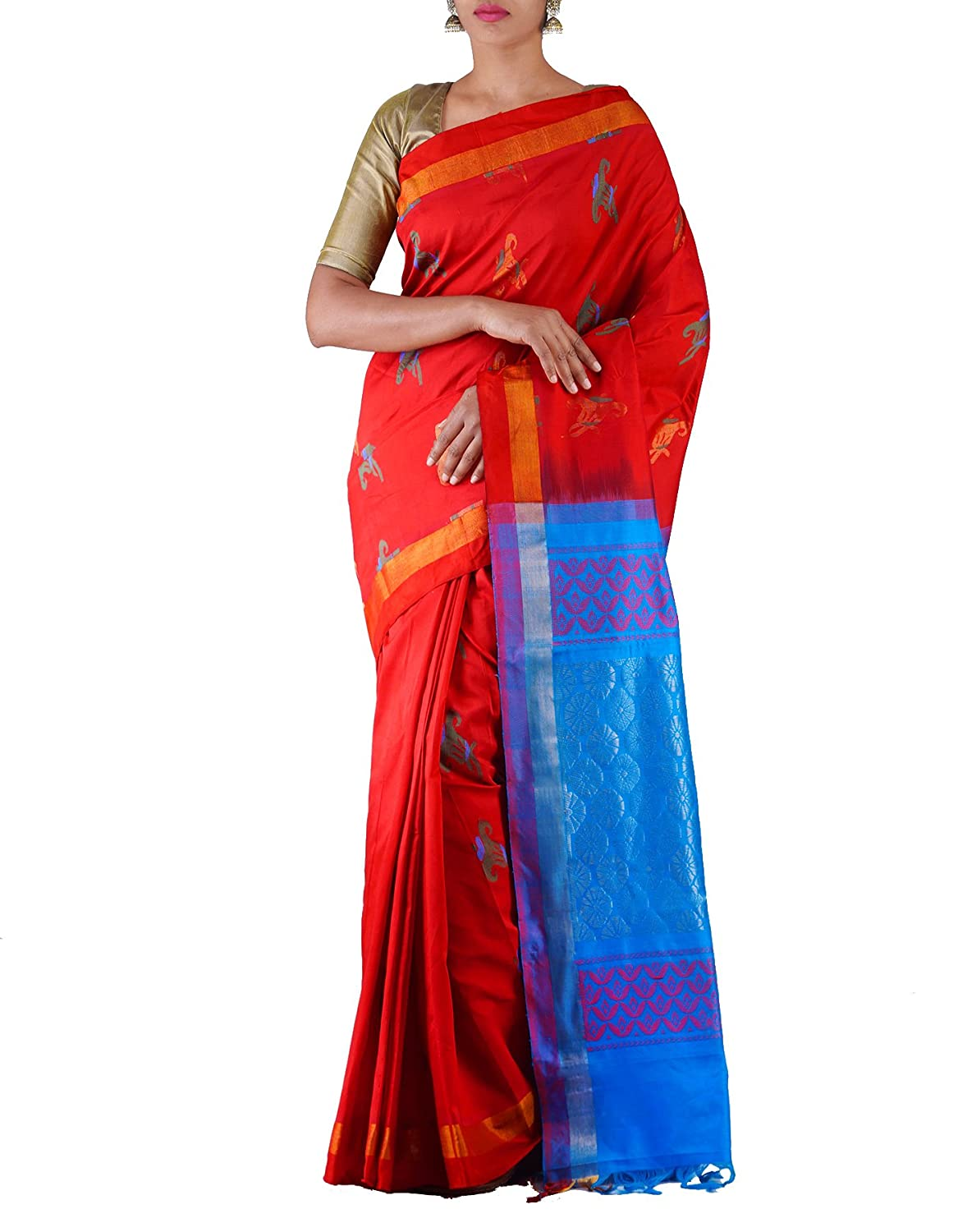 Unnati Silks Women's Silk Cotton Saree With Blouse Piece at Rs.1500