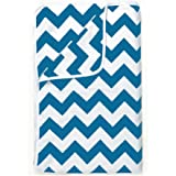 Divine Casa Natty Geometric Polyester Single Blanket - Marina Blue and White