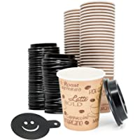 8 Ounce Disposable Paper Coffee Hot Cups with Black Lids and Coffee Stencil - 50 Sets - Double Shot Espresso Macchiato…