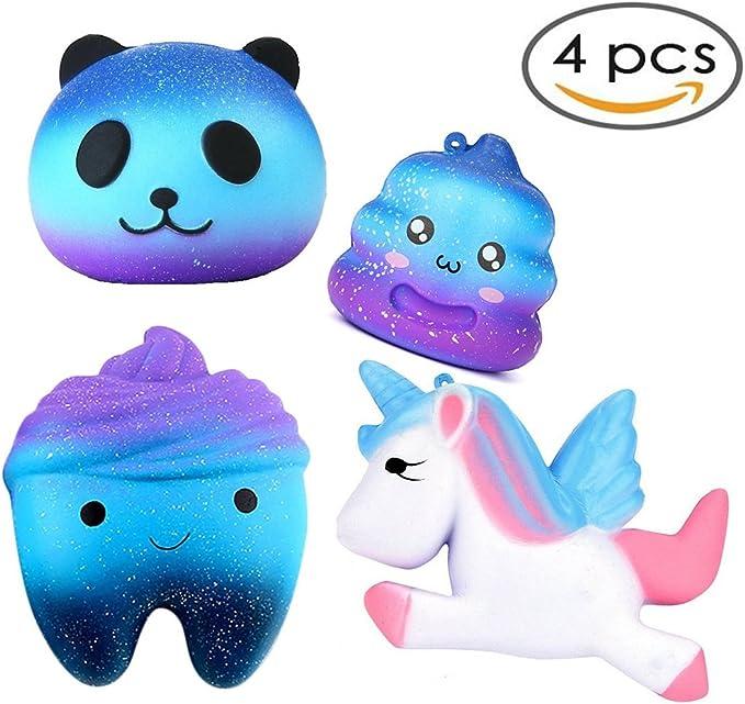 ATEENY Squishy 4 Pack Pegaso Crazy Poo Panda Galaxia, Slow Rising Kawaii Perfumado Exprimir Juguetes para Aliviar el Estrés Juguete de Simulación: Amazon.es: Juguetes y juegos