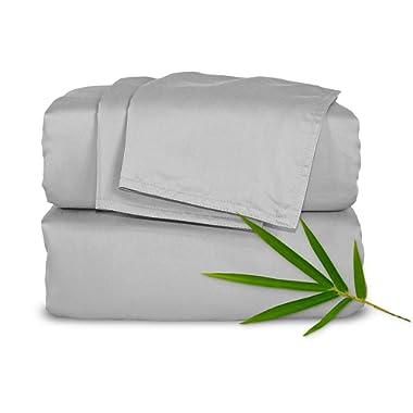 Pure Bamboo Sheets King 4pc Bed Sheet Set - 100% Bamboo Luxuriously Soft Bed Sheets (King, Silver Pearl)