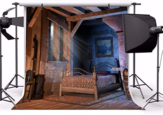 LFEEY 8x8ft Old Farmhouse Dormitorio Retro Camara de Madera ...