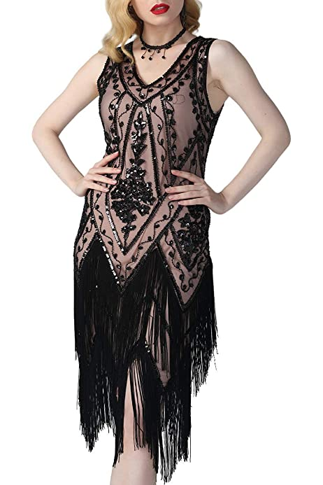 K465 Black Ladies 1920s Roaring 20s Flapper Gatsby Costume Sequins Outfit Dress