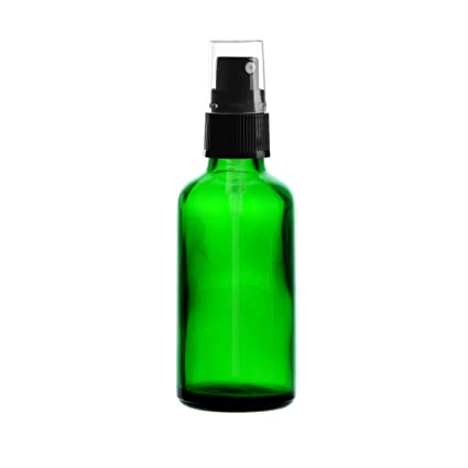 10 x Verde Vidrio Botella 50 ml/pulverizador Incluye Pump vaporizador/cabezal pulverizador Negro