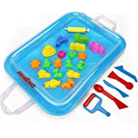 AnanBros 23 Pieces Beach Sand Toys Set, Sand Molds and Tools Kit Plus Sand Tray Mat, Magic Molding Toys Sandbox Toys for Kids, Toddlers - Compatible with Play Sand and Molding Sand