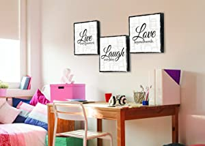"Live Laugh Love - 3 Piece Canvas Print - Wall Art Art (12""x12""x 3 Panels, White and Black)"