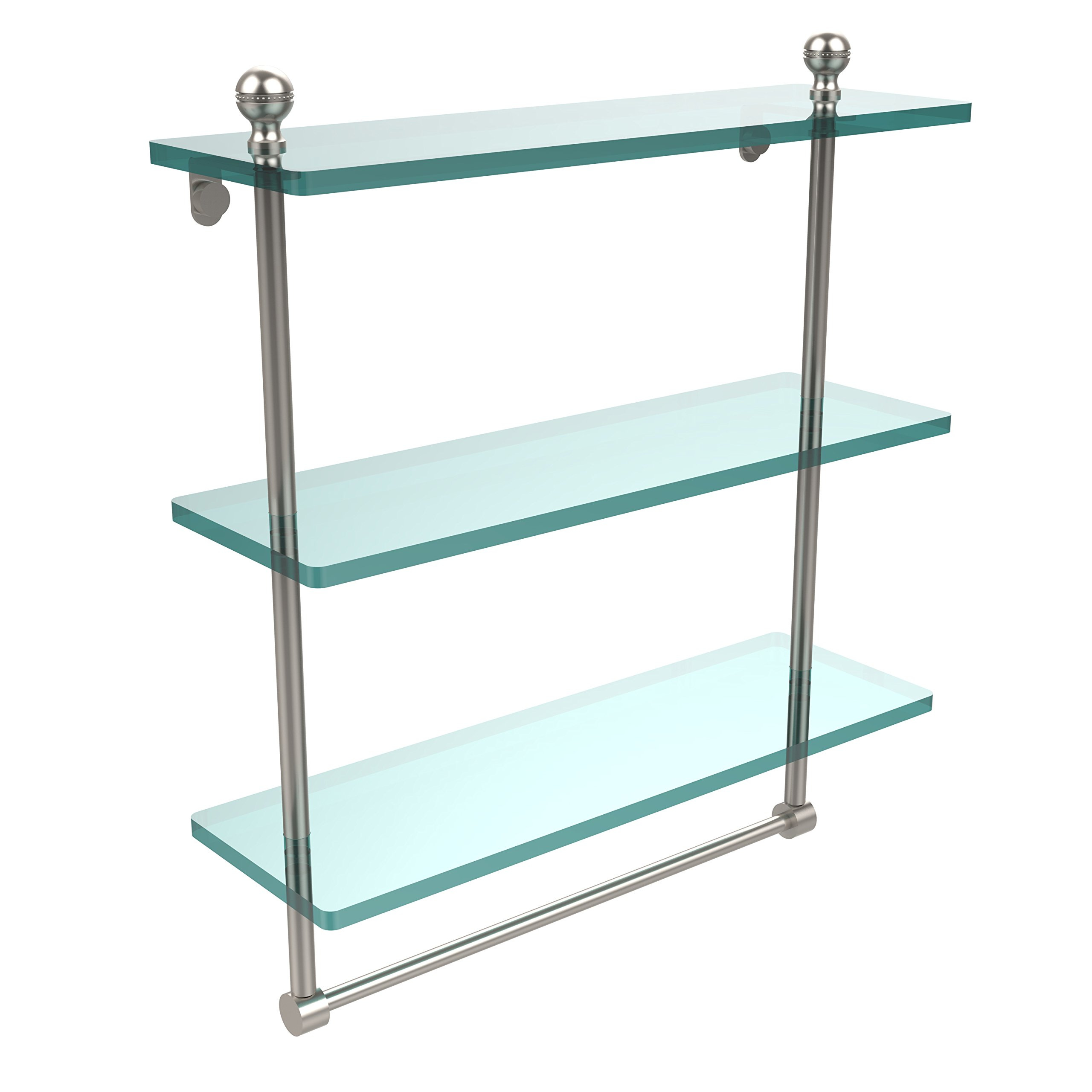 Allied Brass MA-5/16TB-SN 16 x 5 Triple Glass Shelf with TB Satin Nickel