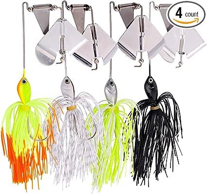 4pcs//lot Spinnerbaits Fishing Lures Buzzbait Blade Skirts Lead Head Bait Hook