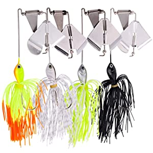 Sougayilang Fishing Lures Buzzbait Spinnerbait Jigs Lure for Bass Pike Fishing