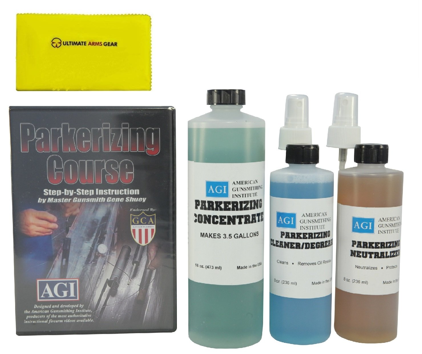 Amazon American Gunsmithing Institute Parkerizing Kit With Concentrate Cleaner Degreaser Neutralizer Step By DVD Ultimate Arms Gear Care