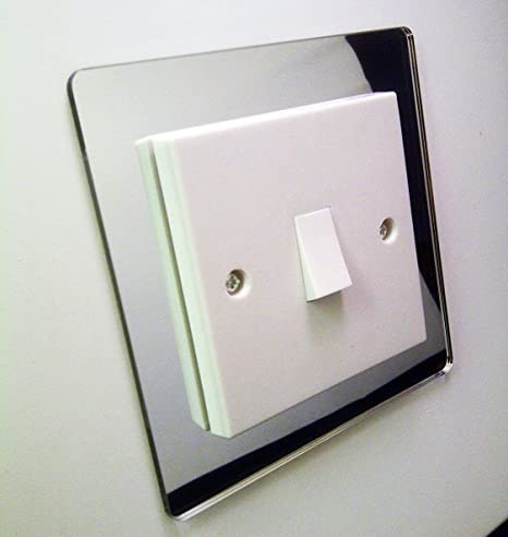 Single Light Switch Cover Surround Coloured Acrylic Decorative Perspex Finger Plate Silver Mirror Chrome Effect