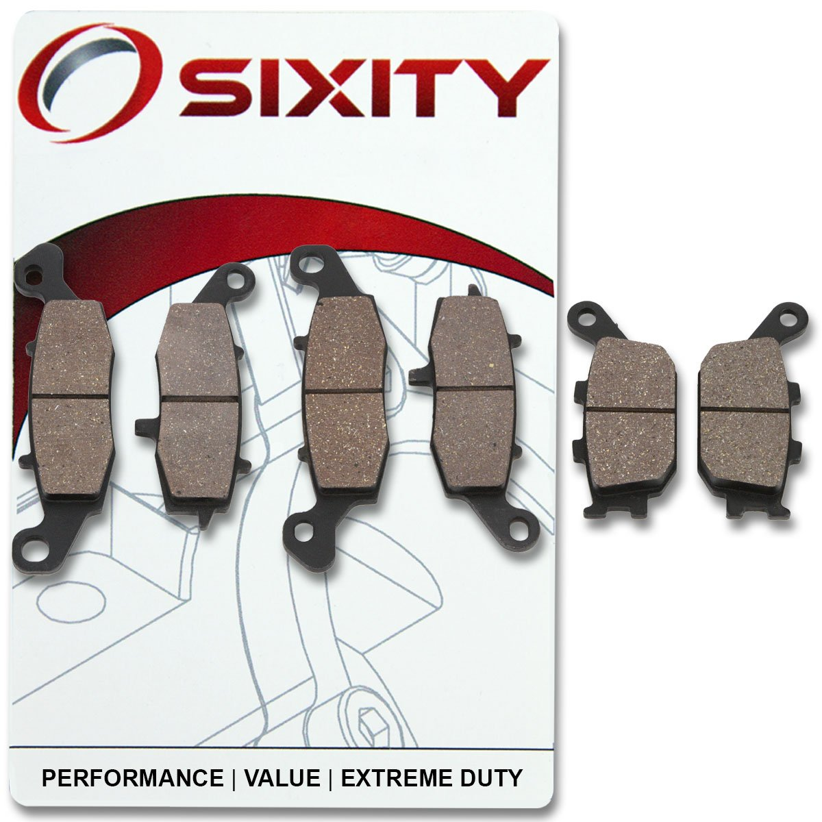 Rear Organic Brake Pads 2003-2008 Suzuki SV650 Set Full Kit K3 K4 K5 K6 K7 K8 K9 Complete Sixity Front