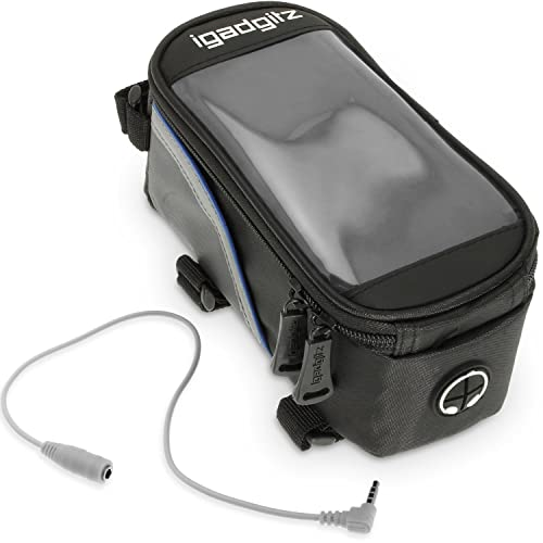iGadgitz - Bike Phone Holder, Bike Frame Bag, Reflective Water Resistant Bike Stem Phone Holder Pannier - Mountain Bike, Road Bike, Push Bike, holds Mobile Phone, iPod, MP3, GPS Holder - Black