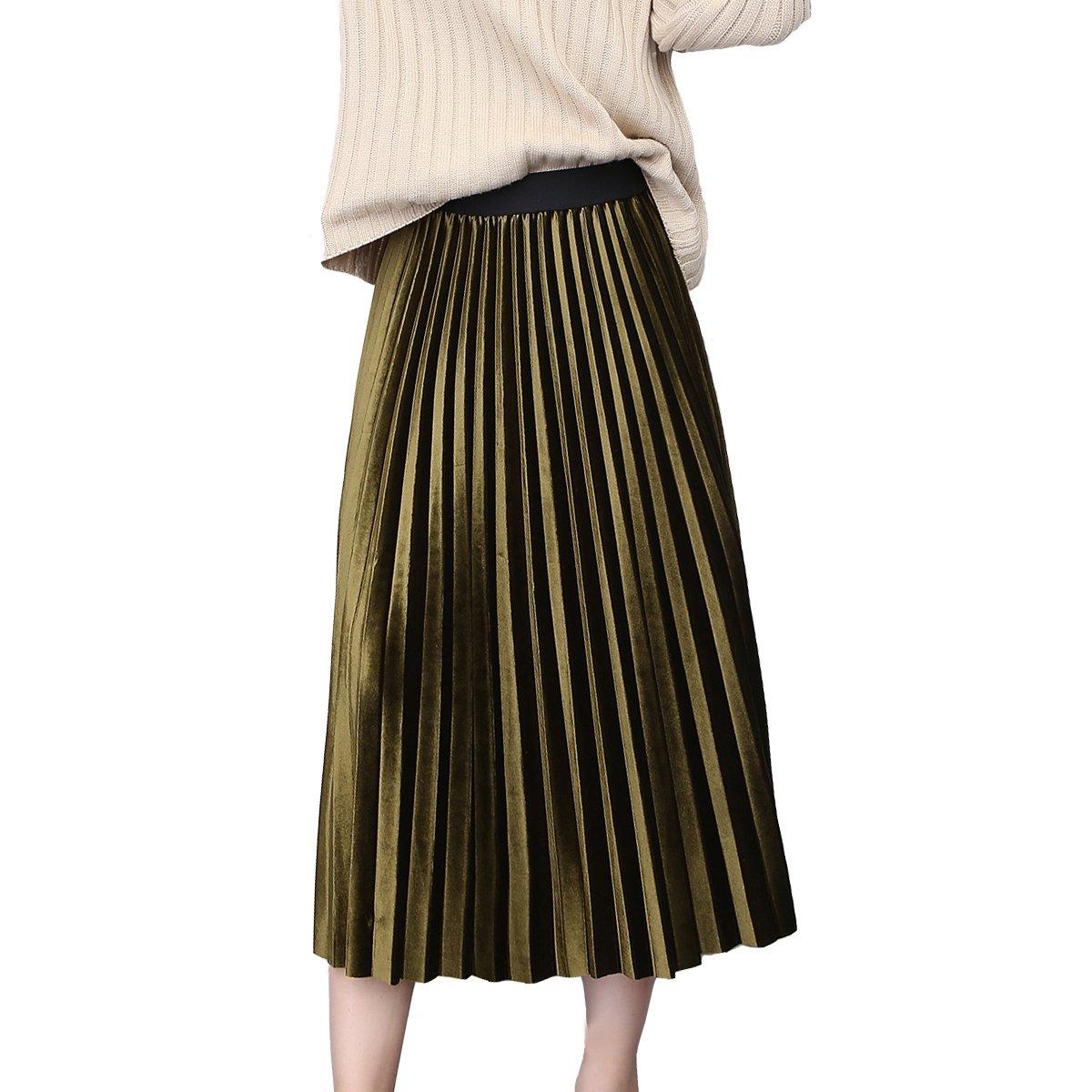 Nadalan Women Velvet A Line Vintage High Elastic Waist Pleated Fashion Long Skirt (Free Size, Dark Green)