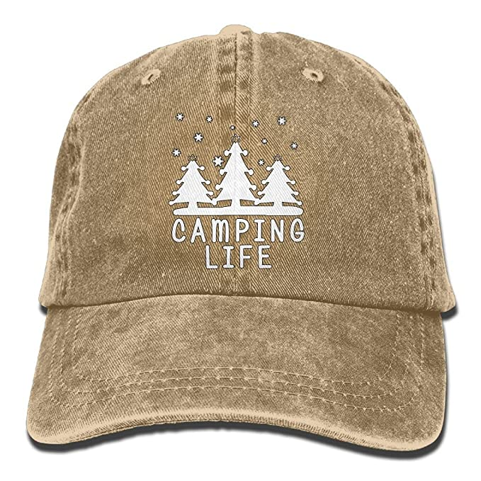 694330ace46 Amazon.com  Louise Morrison Camping Sign Happy Camper Classic Unisex  Baseball Cap Adjustable Washed Dyed Cotton Ball Hat  Sports   Outdoors