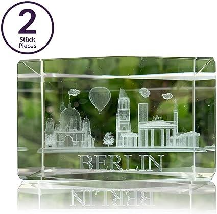 Juego de 2 pisapapeles 3D con grabado láser de BERLIN | caja de regalo de 5x8 cm | cuboide de vidrio | souvenir: Amazon.es: Oficina y papelería