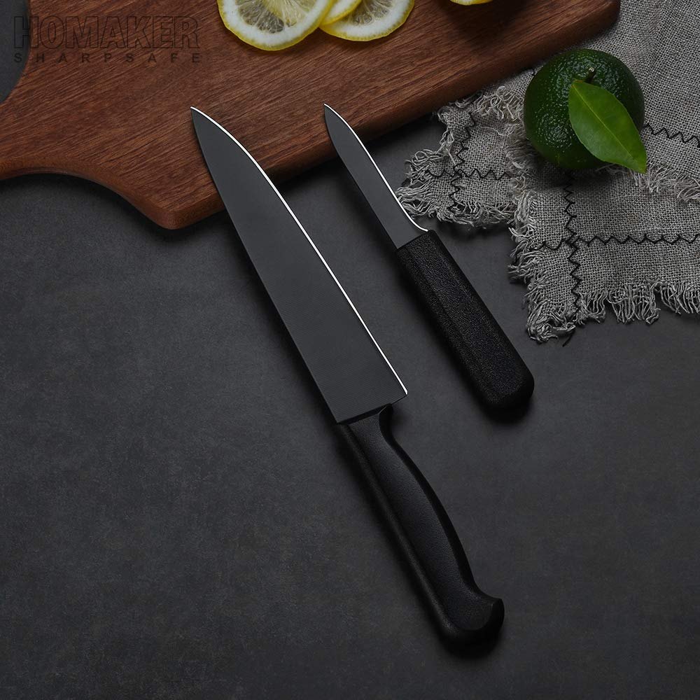 Homaker Knife Set, Black Kitchen Knife Set with High Carbon Stainless Steel Ultra Sharp Chef Knives Set, Bread Knife, Boning Knife, Paring Knife by HOMAKER (Image #3)