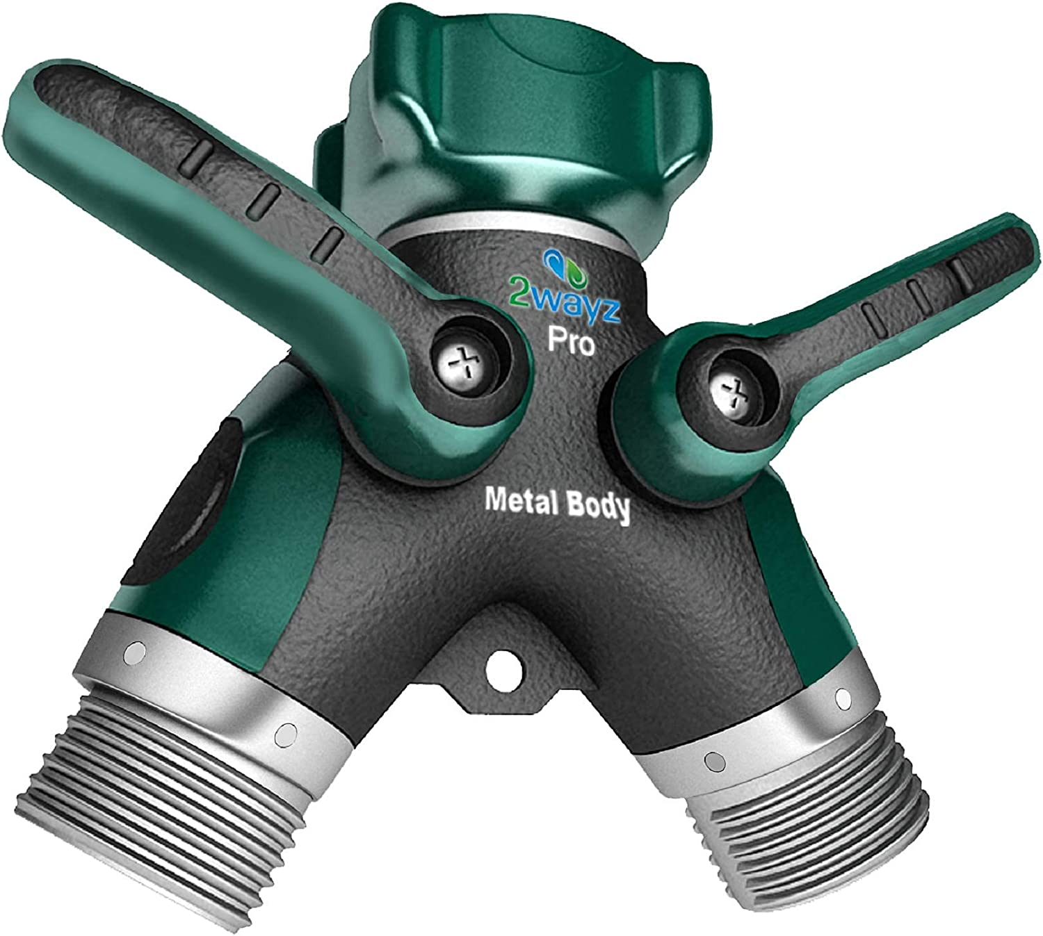 2wayz All Metal Body Garden Hose Splitter. 2021 Version - 100% Secured, Bolted & Threaded. Easy Grip, Smooth Long Handles y Valve