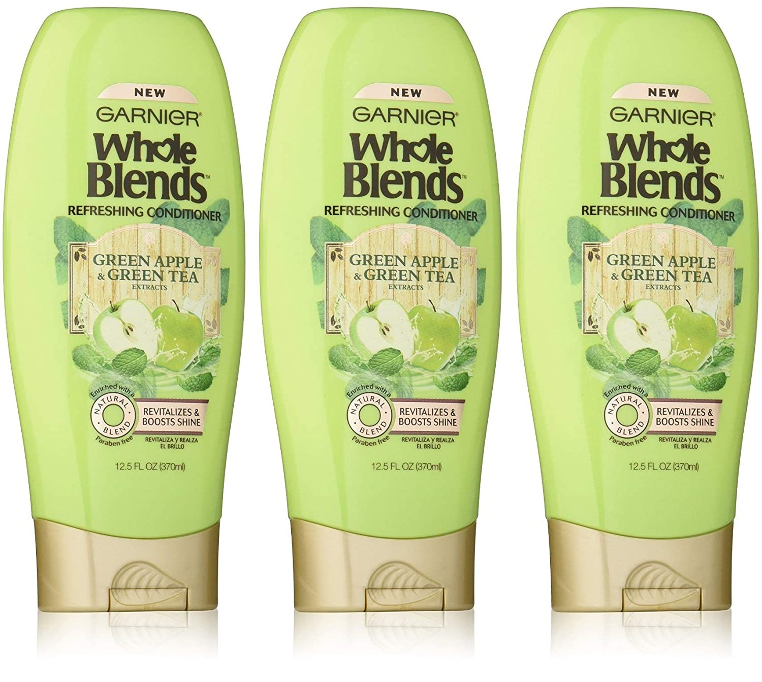 Garnier Whole Blends Refreshing Conditioner, Green Apple & Green Tea Extracts 12.50 oz ( Pack of 3)