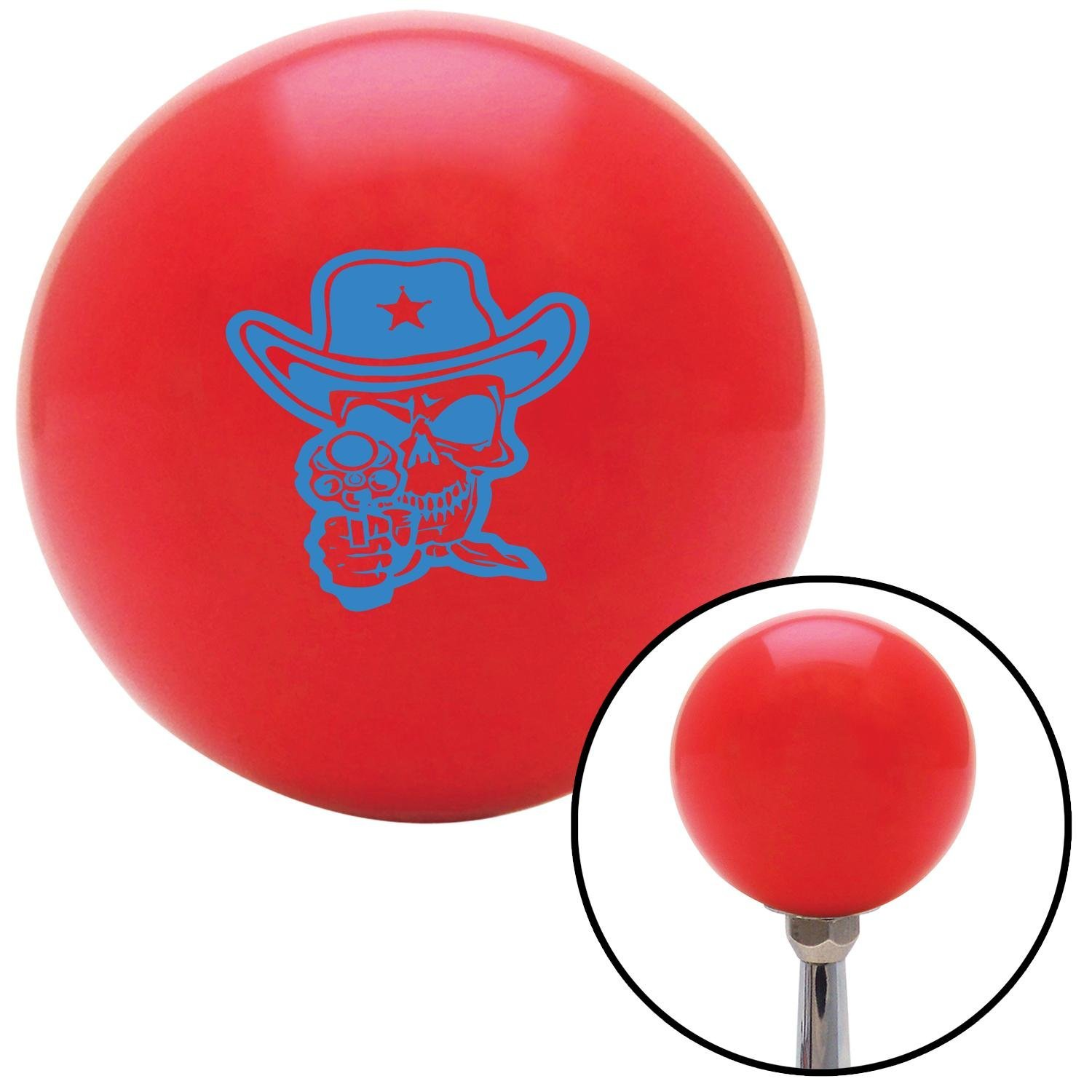 American Shifter 100773 Red Shift Knob with M16 x 1.5 Insert Blue Cowboy Skull