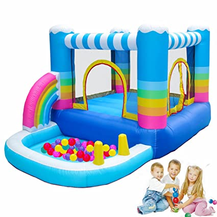 812e5ee2c Amazon.com  MEIOUKA Rainbow Inflatable Bounce House Jumper with 350W ...
