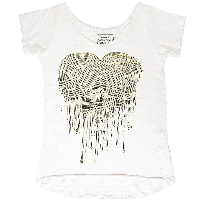 7eeac158050ebc ANNA F. cremefarbenes T-Shirt mit Glitzer Herz M  Amazon.de  Bekleidung