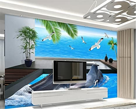 Amazon Com Ai Ya Bihua Custom Wallpaper Living Room Bedroom Mural 3d Wallpaper Sea View Villa Balcony Dolphin Bay 3d Tv Wall 3d Wallpaper Arts Crafts Sewing