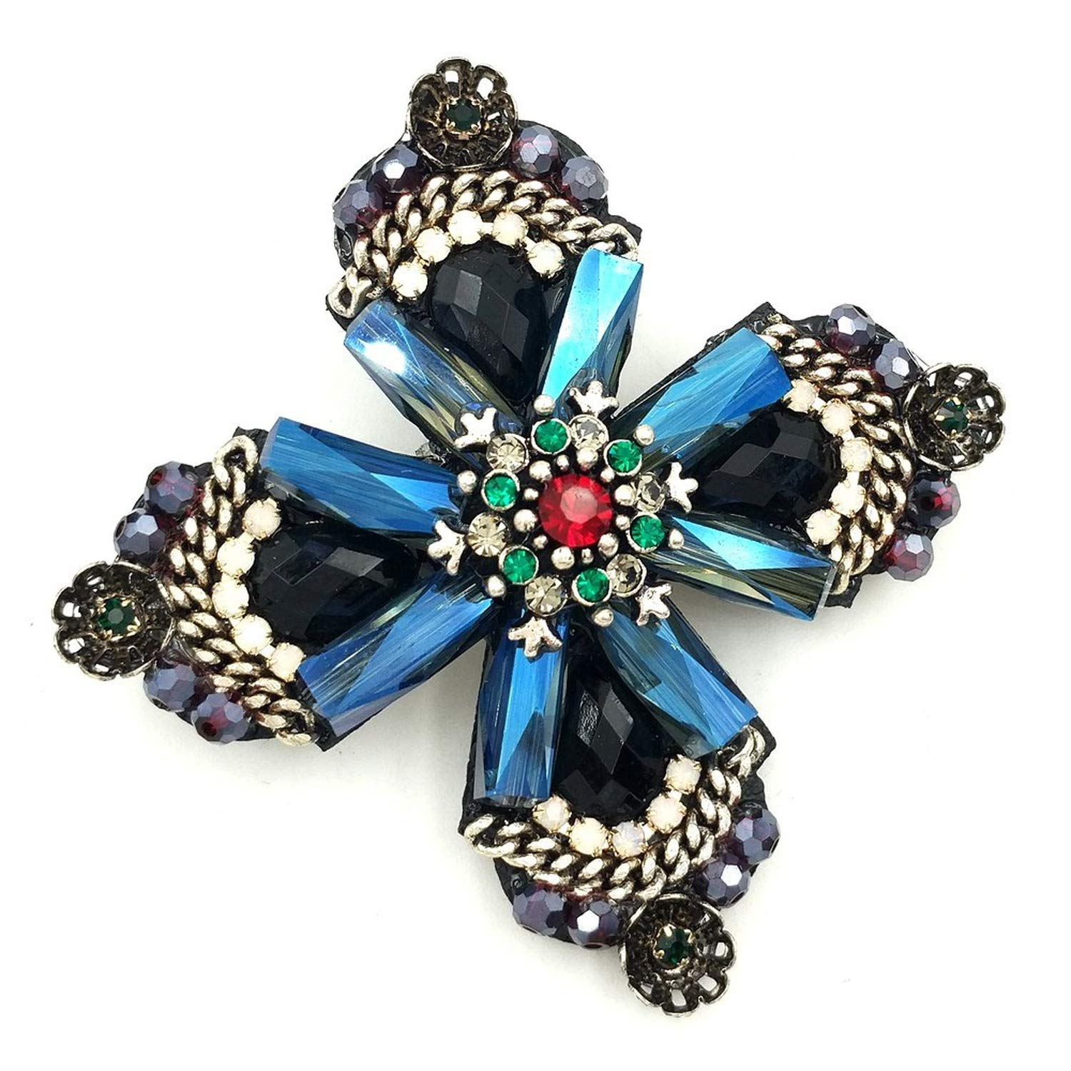 Retro Vintage Dark Blue Rhinestone Crystal Four Petal Flower Brooches Gold Tone Red Green Stone Centered Cross Style Flower Pins,Blue,United States