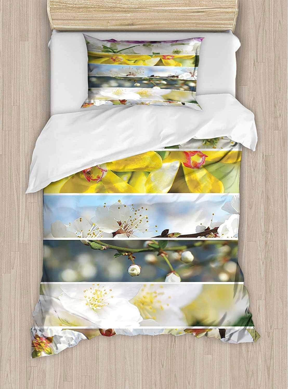 Fashions Home Bedding Collage de Flores, orquídeas y Amapolas, Plantas de jardinería, hábitat, impresión botánica, multiduradera, Elasticidad – King