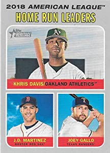 Khris Davis, J.D. Martinez and Joey Gallo 2019 Topps Heritage 2018 AL Home Run Leaders Card #66