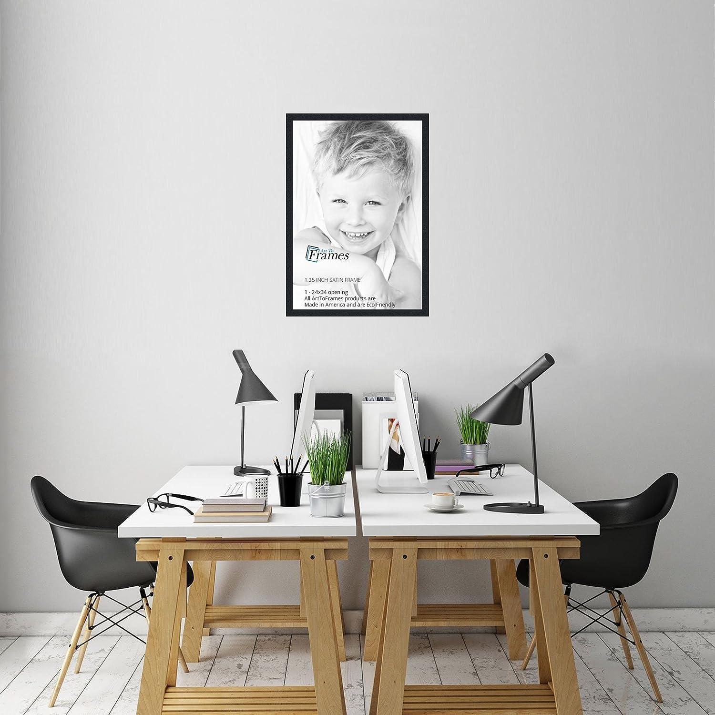 amazoncom arttoframes 24x34 inch satin black picture frame 2womfrbw26079 24x34 single frames
