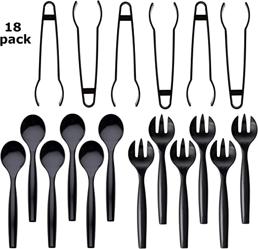 "Six 10/"" Spoons and Forks Six 6-1//2/"" Tongs Heavy Duty Disposable Plastic Serving Utensils Set of 18 Black"