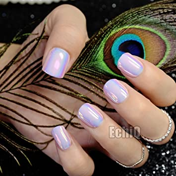 Chrome Holographic Fake Nails Light Pink Mirror Shiny False Finger Full Wrap DIY Nail Tips