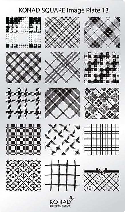 c13 Placa de Diseños Rectangular Konad Original. Plantilla para uñas Konad España. Square Image Plate: Amazon.es: Belleza