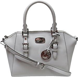 Michael Kors Ciara Large Top Zip Saffiano Leather Satchel (Optic White)