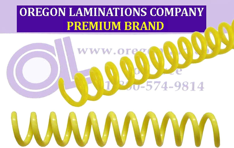 /¼ x 36-inch pk of 100 Yellow Spiral Binding Coils 6mm PMS 108 C 4:1
