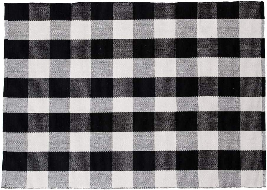 SHACOS Buffalo Checkered Rug 3x5 ft Cotton Woven Throw Rug Floor Mat Carpet for Entryway Kitchen Bedroom Laundry Room (3'x5', Black White)