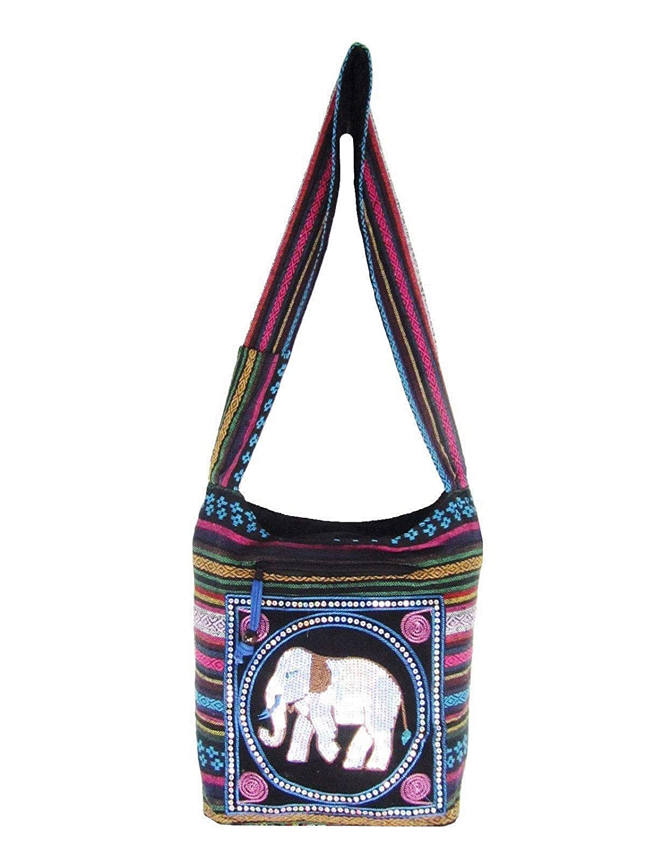 Punch Coffee Embroidered Elephant Bag Aztec Crossbody Messenger Thai Hippie Boho Shoulder Handbag Medium