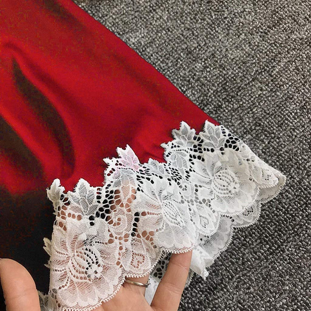 Women Lingerie Satin Nightgown Lace Patchwork Chemise Spaghetti Strap Sleepwear