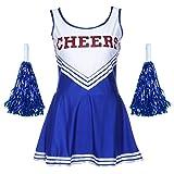 Damen Mädchen Cheerleader Kostüm Uniform Karneval Fasching Party Halloween Kostüm Kleid Cheerleading Bekleidung mit 2 Pompoms-TAIYCYXGAN