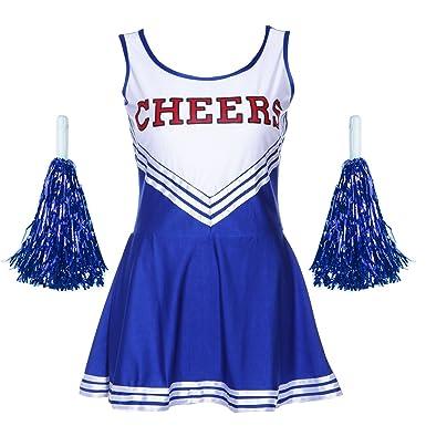 Damen Madchen Cheerleader Cheerleading Kostum Uniform Karneval
