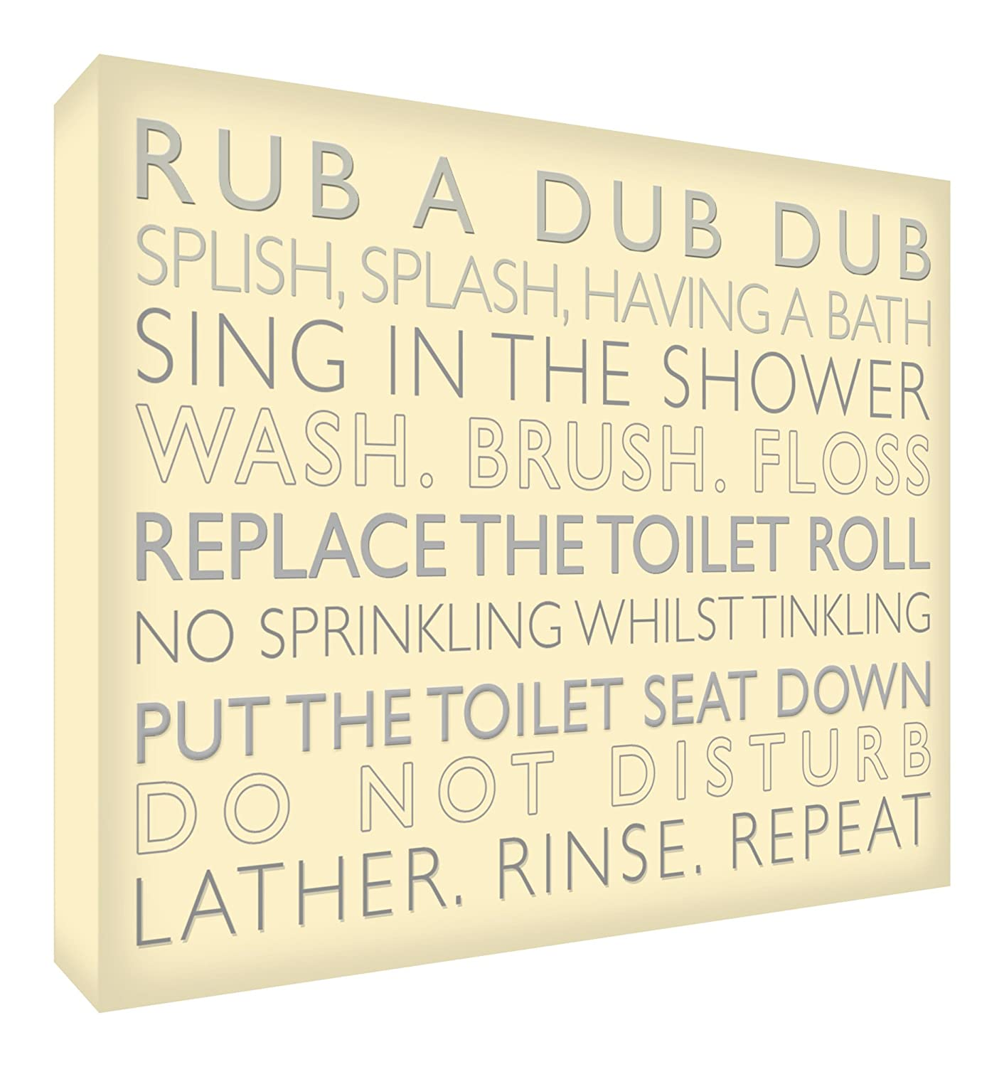 Feel Good Art White Wooden Block/ Ornament - Bathroom Rules - 6 x 4 - Teal CP-BATHRULES-64BLKWHT-07