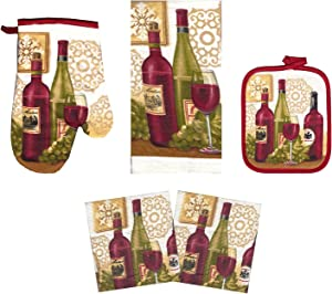 American Linen 5 Piece Kitchen Set Lightweight Set Includes Towel, Dish Cloths, Oven Mitt & Potholder Decorative Kitchen Decor (Wine Bottles)