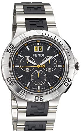 Fendi - F485110 - Montre Homme - Quartz - Chronographe - Bracelet Matériaux  Divers Argent 032d73cdca3