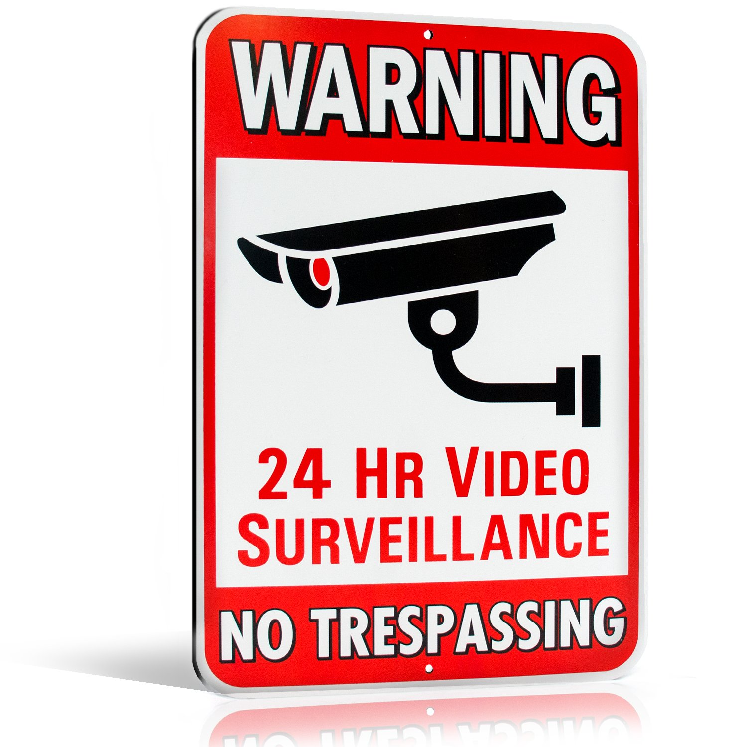 Warning 24 Hour Video Surveillance No Trespassing Metal Sign - Heavy Duty Aluminum - Security Camera Warning, 1/8 Thick Di-Bond Metal, 10'' By 15'' (Aluminum)